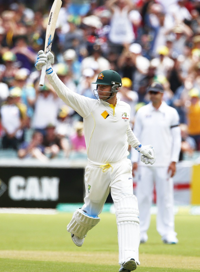 Australia's captain Michael Clarke celebrates his century