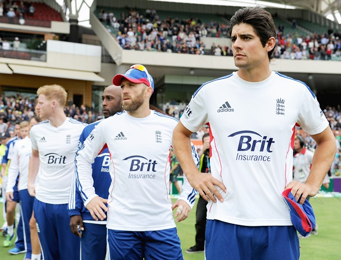 England captain Alastair Cook lines up with his team after losing the Second Ashes Test