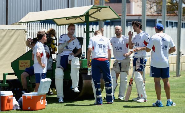 England cricket team takes a break during a practice session