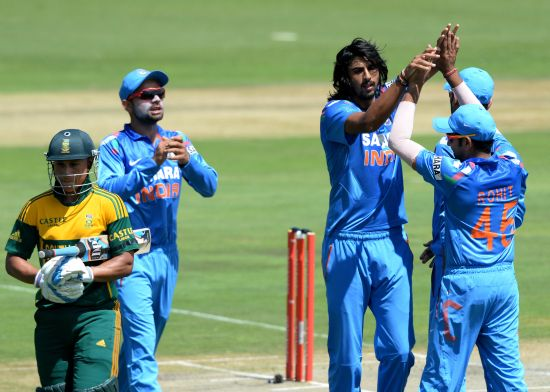 Ishant Sharma celebrates after picking up a wicket