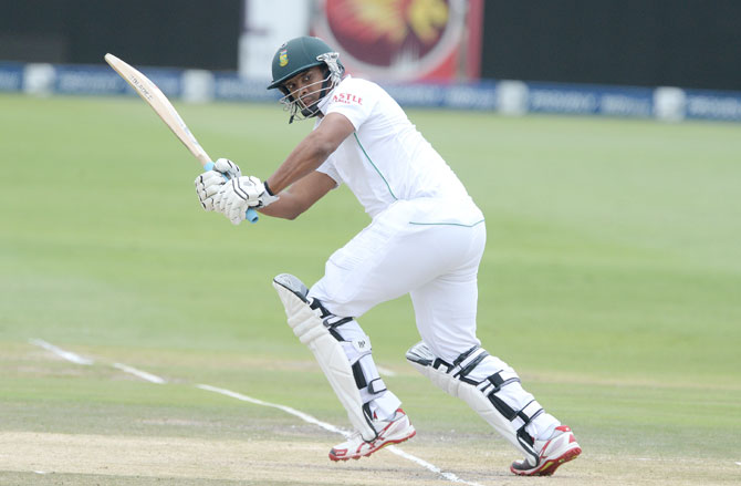 Vernon Philander of South Africa plays a shot