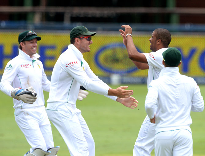 Vernon Philander of South Africa celebrates a wicket