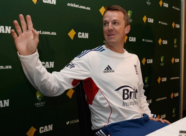 Graeme Swann speaks at a press conference to announce his retirement from all forms of cricket at Melbourne Cricket Ground