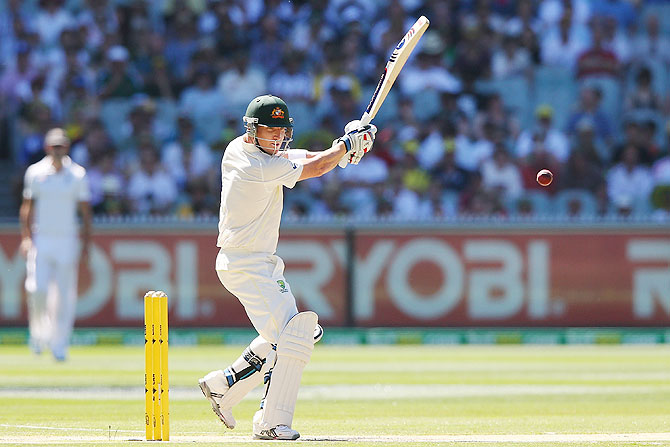Brad Haddin of Australia plays a shot