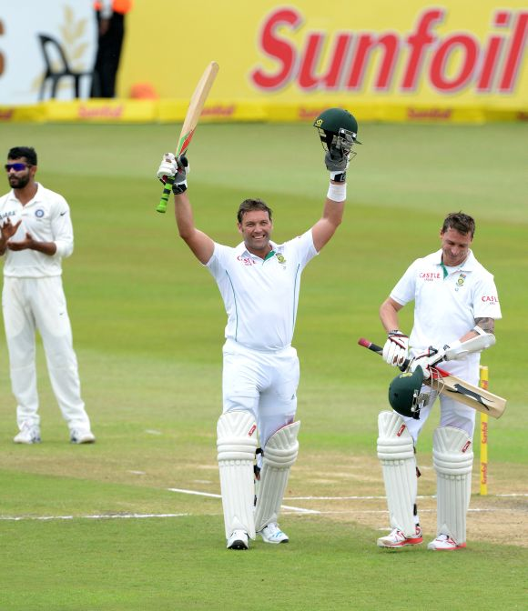 Jacques Kallis celebrates as he completes his century