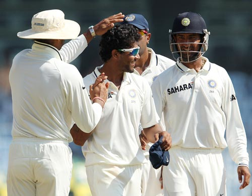 Indian players celebrate a wicket during the first Test in Chennai