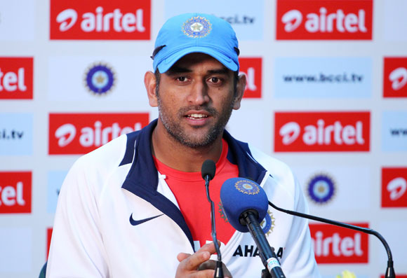 MS Dhoni of India addresses the media in the post match press conference