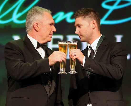 Michael Clarke with Allan Border