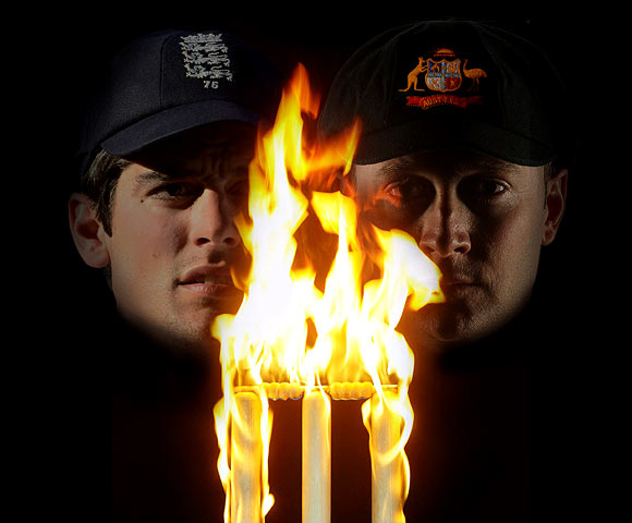 England captain Alastair Cook (left) and Australia captain Michael Clarke