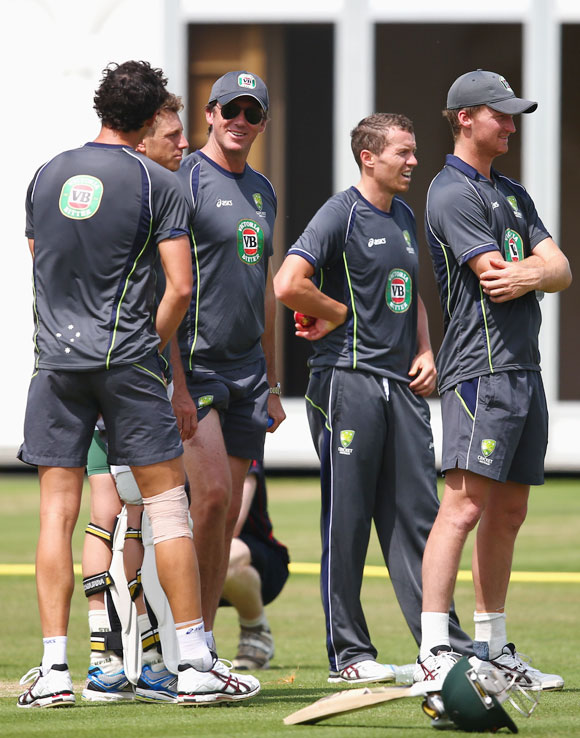 Glenn McGrath speaks to the Australian fast bowlers during an Australian nets session at Lord's cricket ground on Tuesday