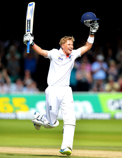 Joe Root celebrates after scoring his century