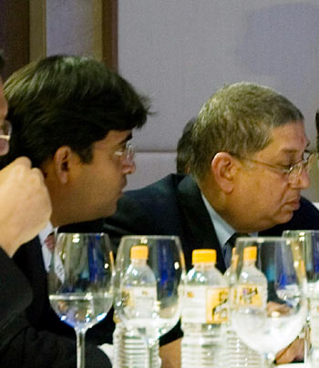 N Srinivasan, right, with son-in-law Gurunath Meiyappan at the 2010 IPL Players Auction in Mumbai
