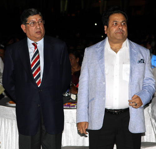 N Srinivasan, left, with Rajiv Shukla, who has resigned as IPL commissioner