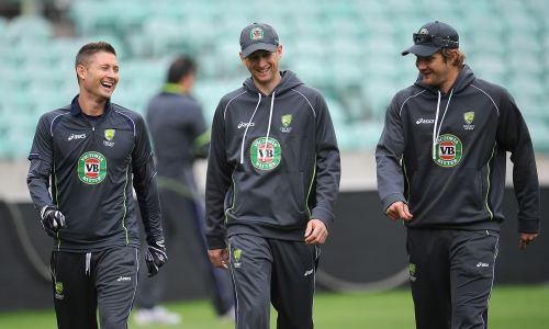 Michael Clarke, Adam Voges and Shane watson