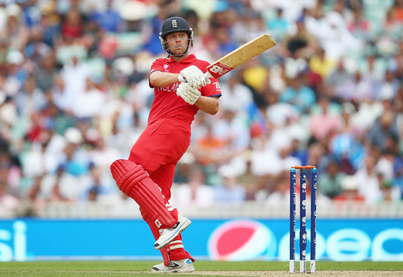 Jonathan Trott of England hits out