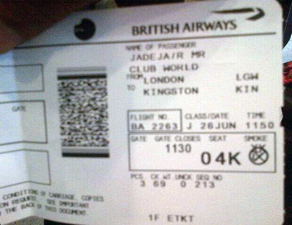 Jadeja tweeted a picture of his boarding pass