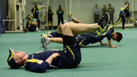 Xavier Doherty of Australia warms up during a nets session