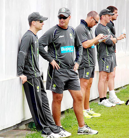 Michael Clarke and Mickey Arthur before a training session in the nets on Tuesday