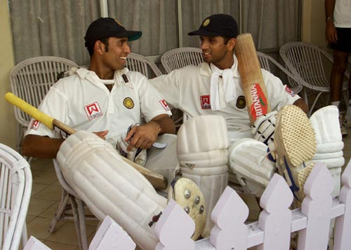 V V S Laxman and Rahul Dravid relax after their magnificent partnership at the Eden Gardens, March 2001