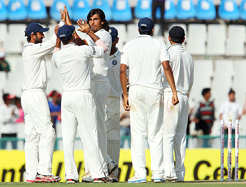 Ishant Sharma celebrates after dismissing Brad Haddin