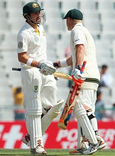 Ed Cowan and David Warner during their recod partnership