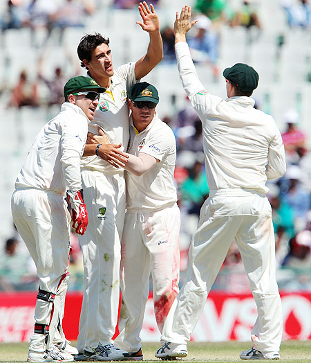 Mitchell Starc celebrates a wicket with teammates