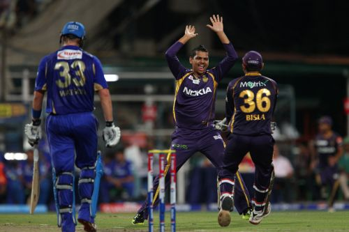 Sunil Narine celebrates after dismissing Shane Watson