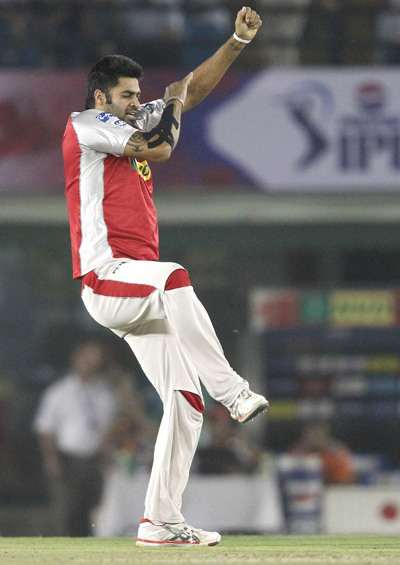 Manpreet Gony of Kings XI Punjab celebrates after bowling Chris Gayle of the Royal Challengers Bangalore