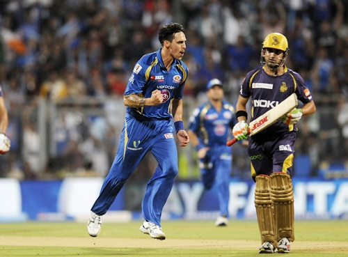 Mitchell Johnson celebrates after dismissing Gambhir