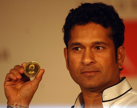 Tendulkar launches 10 gram gold coin with his image