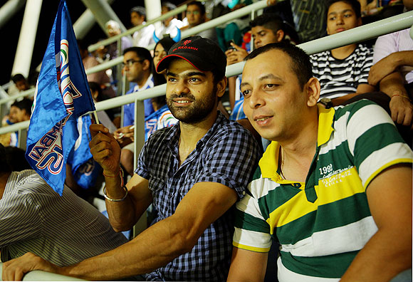 Marathi actor Piyush Ranade(left) with his friend during the match at the Wankhede on Monday