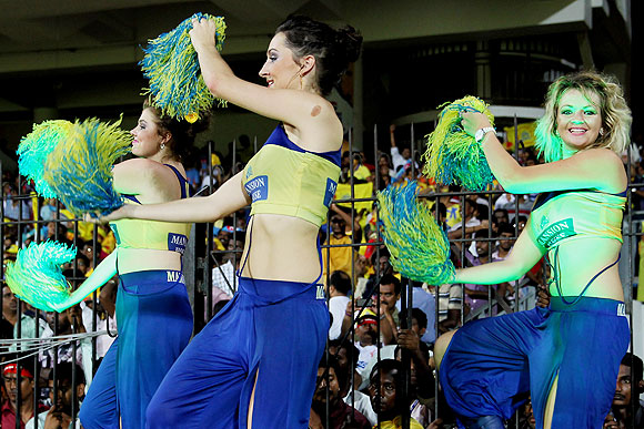 Chennai Super Kings' cheerleaders dance during the match on Tuesday