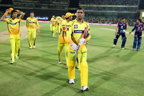 MS Dhoni walks back to the pavillion at the end of the match
