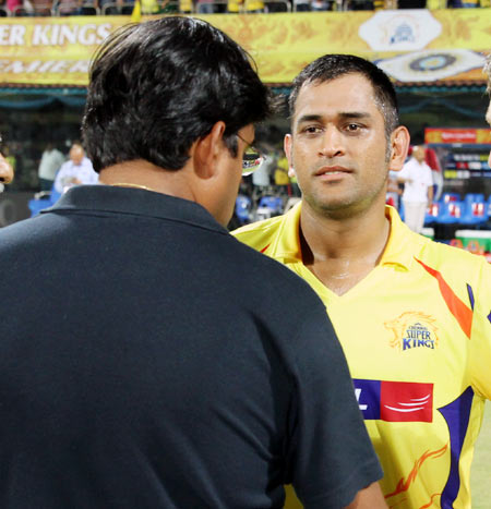 Chennai Super Kings CEO Gurunath Meiyappan with Mahendra Singh Dhoni