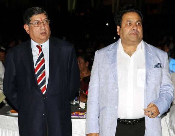 BCCI president N Srinivasan (left) with IPL chairman Rajeev Shukla