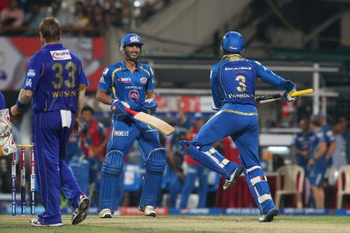Harbhajan Singh celebrates after winning the game for Mumbai Indians