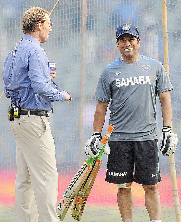 Shane Warne and Sachin Tendulkar at Wankhede on Friday