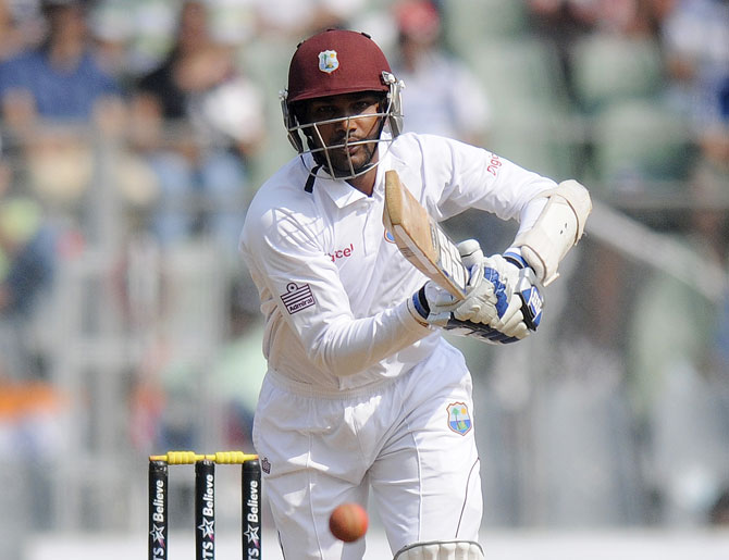 Denesh Ramdin of West Indies bats during day three