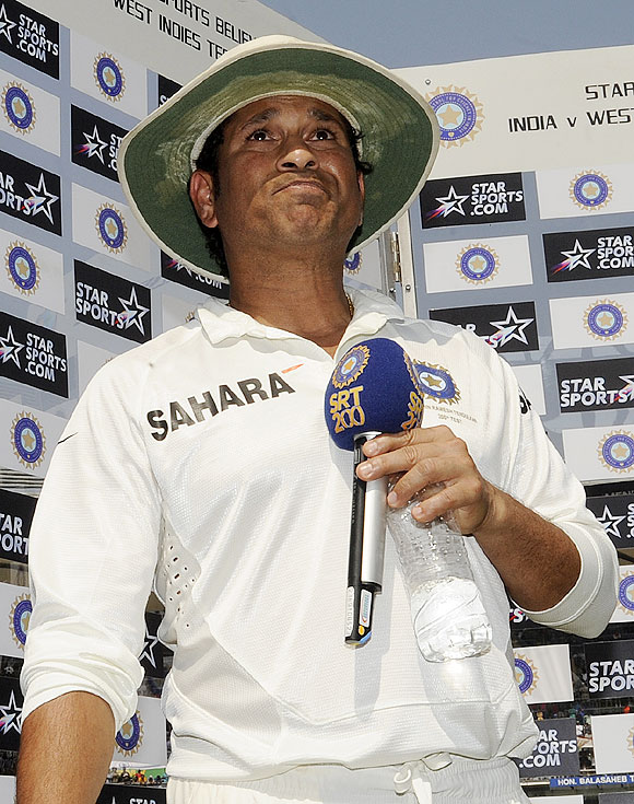 Sachin Tendulkar of India turns emotional while addressing the crowd as he bids farewell at the end of his career on day three of the second Test match between India and The West Indies held at The Wankhede Stadium in Mumbai on Saturday