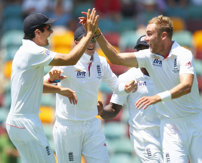 Stuart Broad of England celebrates with his team