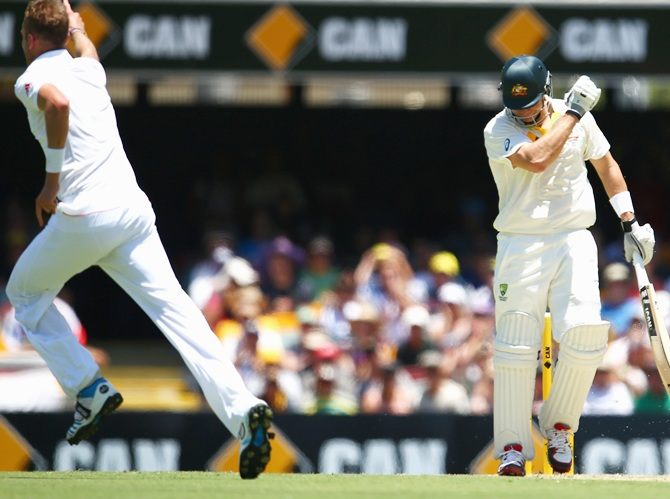 Shane Watson of Australia looks dejected after being dismissed by Stuart Broad