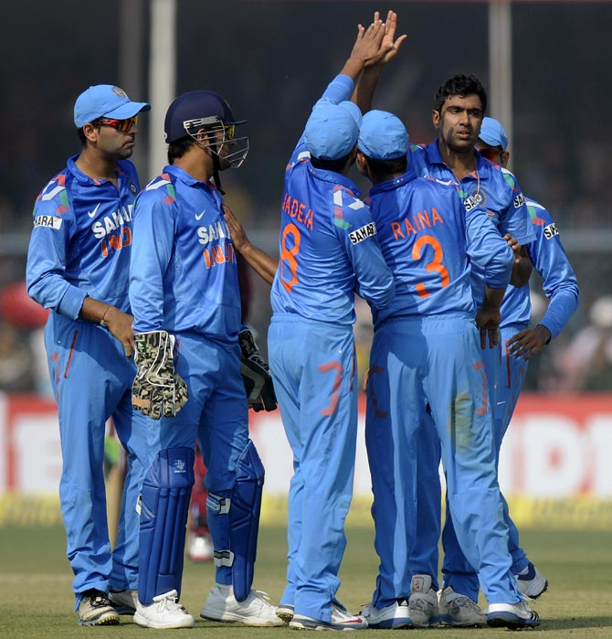 R Ashwin celebrates after getting a wicket