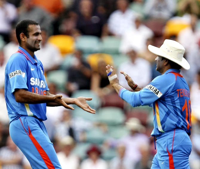 Irfan Pathan (left) with Sachin Tendulkar