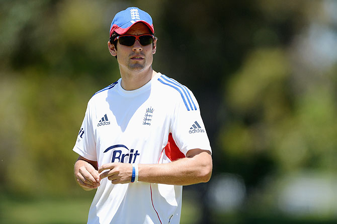 England captain Alastair Cook during a nets session at Floreat Oval in Perth on Tuesday