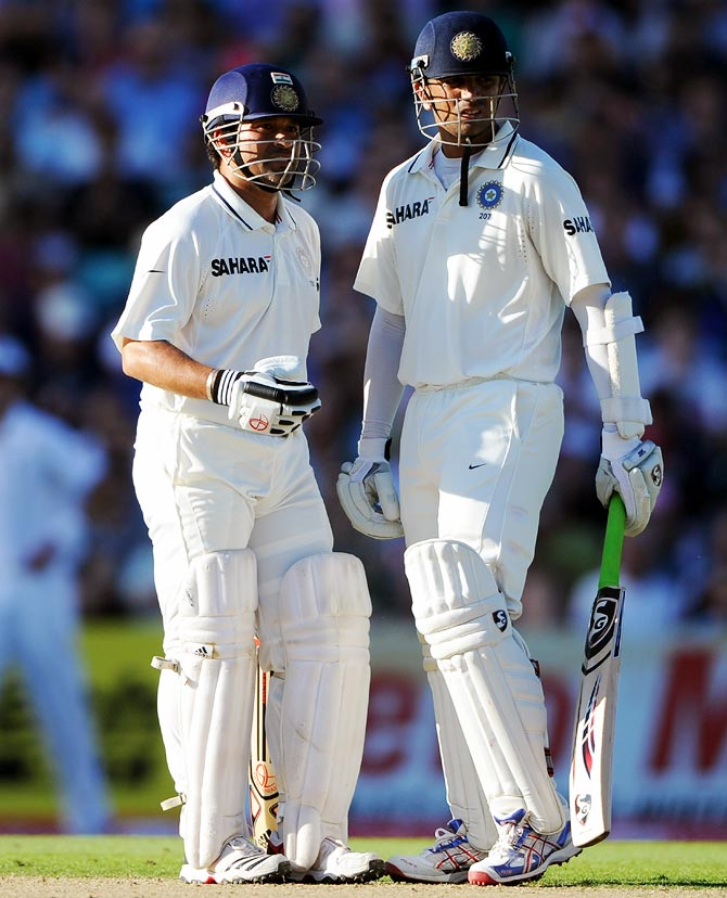 Rahul Dravid (right) with Sachin Tendulkar