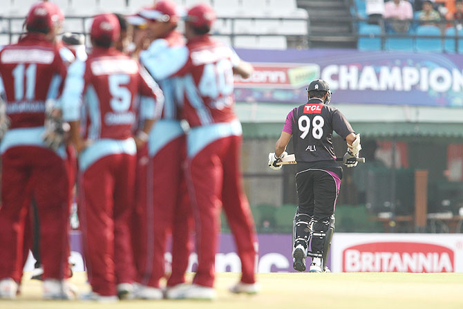 Ali Waqas of the Faisalabad Wolves walks back to the dug out after being dismissed by Nuwan Kulasekara on Friday