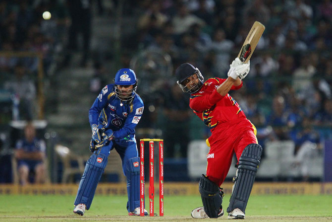 Highveld Lions captain Alviro Petersen hits over the top for a four