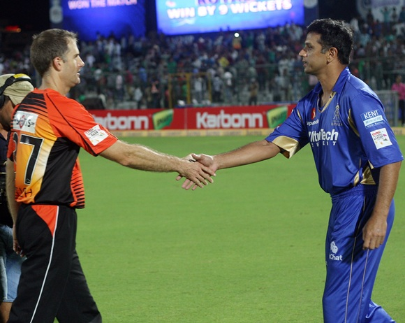 Simon Katich (left) with Rahul Dravid