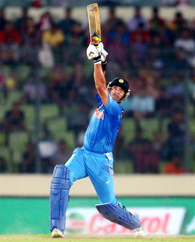 Yuvraj Singh in action during the match against Australia
