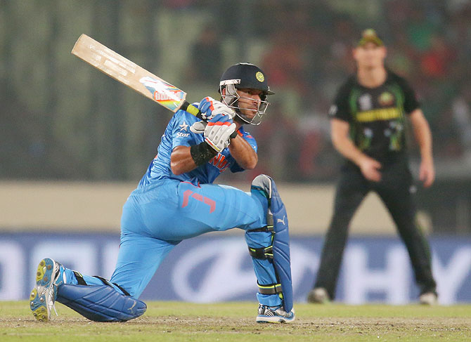Yuvraj Singh in action against Australia at the World T20